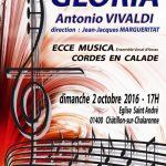 CONCERT ECCE MUSICA GLORIA DE VIVALDI 2 OCTOBRE 2016